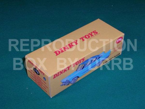 Dinky #178 Plymouth Plaza - Reproduction Box ( 2-tone, Light Blue and Dark Blue )